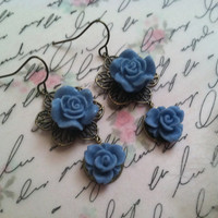 garden chic- blue roses- pierced dangle earrings -antique bronze