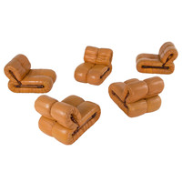 Rare modular seating group by Percival Lafer, rosewood and leather