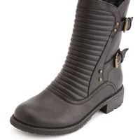Quilted Double Buckle Moto Bootie