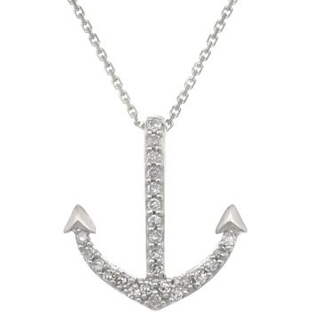 10K White Gold Anchor Mini Pendant with Diamonds (.07cttw, I-J Color, I2-I3)