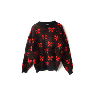 vintage christmas bow jumper . polka dots . red + black . small fit . festive sweater . made in england .  etsy uk