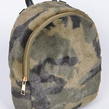 Faux Fur Military Inspired Backpack