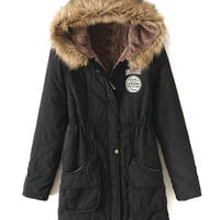 Black Pocket Patch Detail Faux Fur Hooded Parka Coat