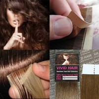 """10 Pcs X 22"""" inches Remy Seamless Tape Skin weft Human Hair Extensions Color # 6 Light Brown"""