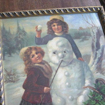 Framed Picture of 19th Century Victorian Girls with Snowman; Charming Vintage Winter/Christmastime Print; Brundage Style