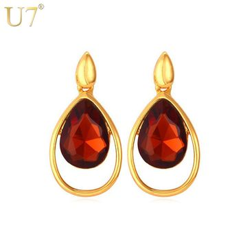 U7 Crystal Colorful Earrings Trendy Gold Color Water Drop Crystal & Rhinestone Jewelry Earrings For Women Gift E436