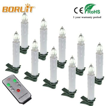 10pcs Warm White christmas Tree decoration Wireless RGB Remote Control LED Candle Light For Birthday Wedding home decor Fixtures