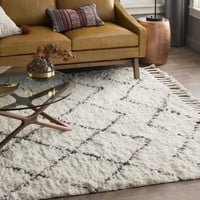 Twinar Hand-Knotted White/Dark Grey Area Rug