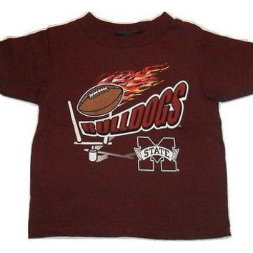 Mississippi State Bulldogs T-shirt Football on Fire Logo Tee Baby Infant Sizes