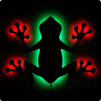 Tree Frog Lighted Wall Art - Fun Red Green Decorations