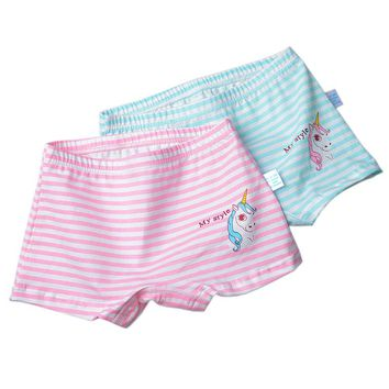 2pcs/Set Combed Cotton Girls Boxers Animal Unicorn Girls Panties Briefs Kids Cotton Underwear Shorts Pants Children Underpants