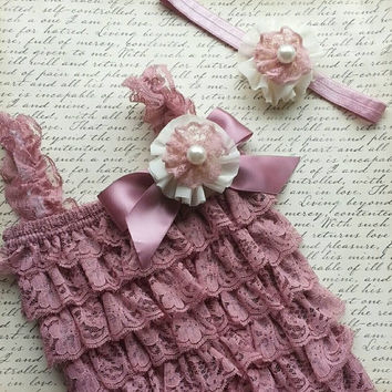 Lace Romper Set,  Baby Lace Romper Set, Petti Lace Romper Set, Vintage Rose Lace Romper Outfit, Photo Prop, Newborn,  Smash Cake Outfit