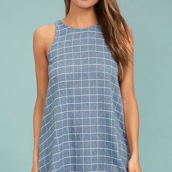 PPLA Off the Grid Denim Blue Print Dress