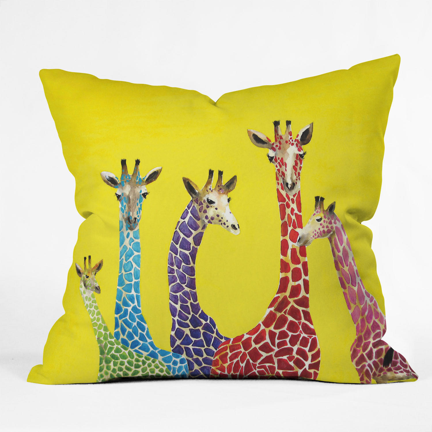 Clara Nilles Jellybean Giraffes Throw Pillow