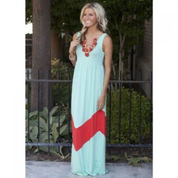 MVB Mint and Coral Color Block Chevron Maxi Dress