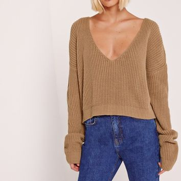 Missguided - V-Neck Slouchy Crop Jumper Nude