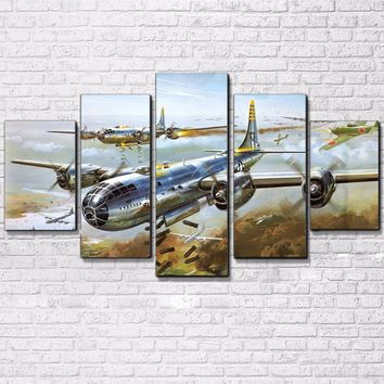 5 Pieces Military Airplane Jet Aircraft Pictures Vintage Air Plane Canvas