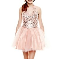 Sequin Bodice Halter Dress