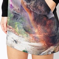 Ted Baker Scuba Mini Skirt in Rainbow Waterfall Print