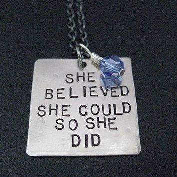 SHE BELIEVED She Could So She Did Necklace with Race Month Crystal - Choose your Race Month or Birthstone Crystal - Survivor Necklace - Race