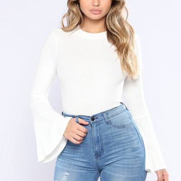 Saved By The Bell Sleeve Top - Soft White