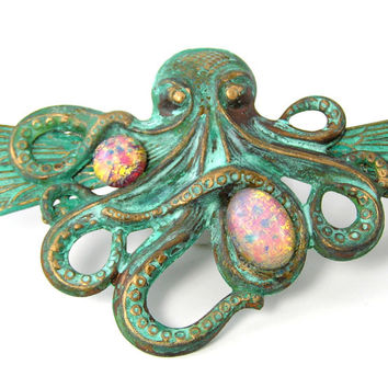 Octopus Statement Necklace, Antiqued Metal Pendant, Green Verdigris, Flying Kraken, Fire Opal, Vintage Glass, Steampunk, Sea Life