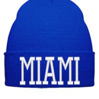 MIAMI EMBROIDERY HAT - Beanie Cuffed Knit Cap