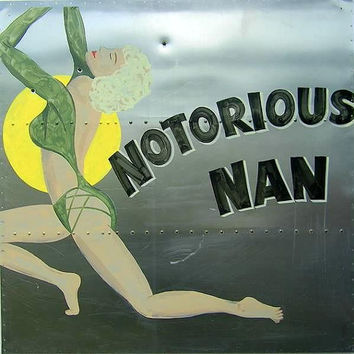 Notorious Man Nose Art, Hand Painted Metal Sign, Vintage Inspired, Bomber