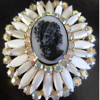 Gorgeous JULIANA Book Piece!  White with AB Rhinestones elegantly framing a large Black on White Cameo Vintage Brooch Pin