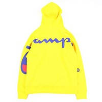 Champion New Fashion High Quality Back Letter Print Women Men Hooded Long Sleeve Sweater Top Yellow