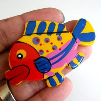 "Vtg 1980s Colorful Resin Plastic Fish Pin Hand Painted Enamel 2.5"" L Brooch"