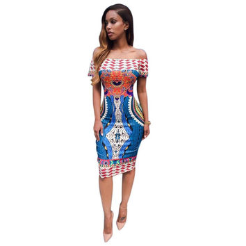 Traditional African Print Sexy Short Sleeve Off Shoulder Dashiki Bodycon Dress