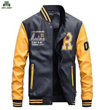 New Men Embroidery PU Faux Leather Slim Fit Jackets