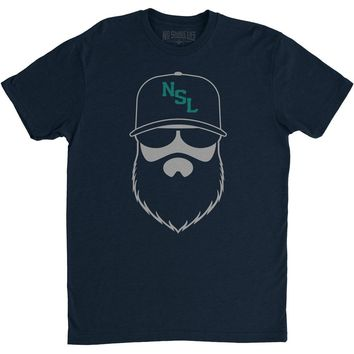 NSL Beard League Men's T-Shirt Navy/Silver/Teal