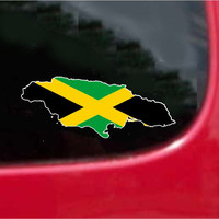 Jamaica  Outline Map Flag Vinyl Decal Sticker Full Color/Weather Proof.