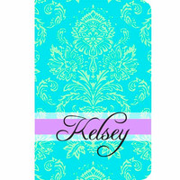 Kindle Fire Fabric case cover Personalized Custom Damask Turquoise Mint Green Lavendar