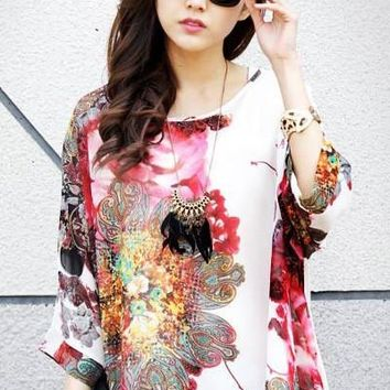 Chicloth Large Size Batwing Sleeve Watercolor Painting Chiffon Blouse