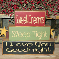 Good Night, Sleep Tight, I love You, Goodnight Primitive Wood Sign Stacking Shelf Blocks Rustic Country Decor
