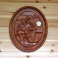 Unique Wall Clock. Wood Wall Clock. Rustic Wall Clock.  Made in the USA. Woodworking Clock. Wood Carved Cowboy. CNC Relief Carving.