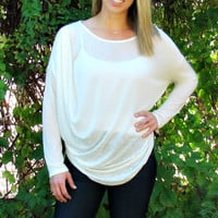 White Knit Top with Drape Front