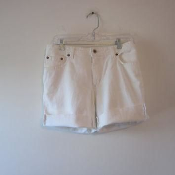 White Ralph Lauren Shorts Vintage Cut Off Jean Shorts White Denim Shorts Size 10 Women
