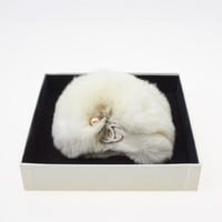 Chanel White Fur Cuff w/ Pearl