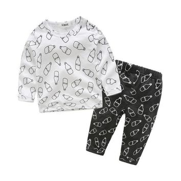 Kimocat Boys Clothing Set Newborn Spring Autumn Long Sleeve Likable Feeding-Bottle Printing Cotton Baby Sleeping Suits Pajamas