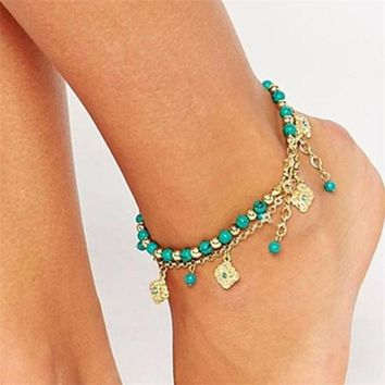 Hand Blue Flowers Ankle Bracelet