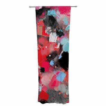 """Rosa Picnic """"Abs-7"""" Black Blue Abstract Contemporary Painting Watercolor Decorative Sheer Curtain"""