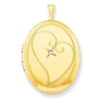 1/20 Gold Filled 26mm Diamond in Heart Oval Locket QLS302