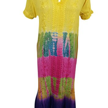 Mogul Womens Maxi Dresses Tie-Dye Boho Hippie Floral Embroidered Caftan Dress: Amazon.ca: Clothing & Accessories