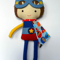 Superhero boy doll with superhero mask and super hero cape and belt, fabric doll for boys, toddler gift toy, custom handmade stuffed doll