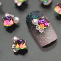 10pc Crystal Rhinstone Pearl 3d Nail Charms For Nail Art Decorations DIY Glitter Alloy Nails Tools Free Shipping