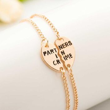 Europe Style Partners In Crime Letter Hearts Alloy Friendship Bracelets Jewelry Friendship Gifts To Best Friend